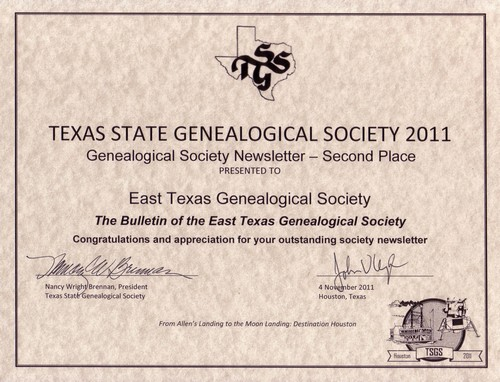 2011 TSGS newsletter 2nd place