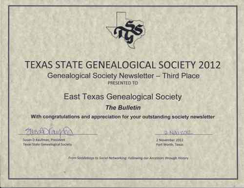 2012 TSGS newsletter 3rd place