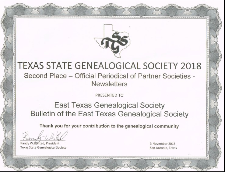 2018 TSGS Newsletter 2nd place